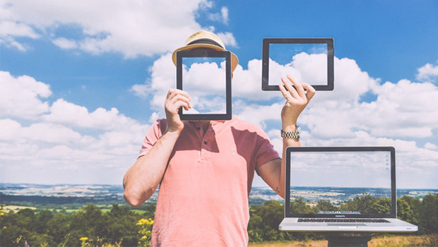 Clouds and computer, tablet and phone